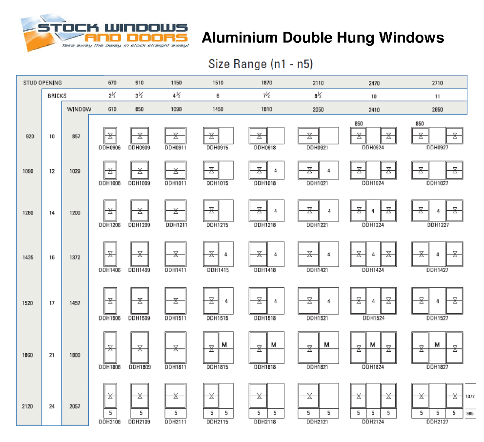 Standard casement window sizes chart image - Stock_windows_aluminium_double_hung_standard_size_chart_2 1