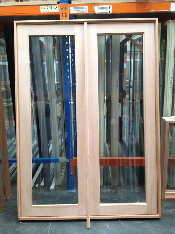 Timber french doors 2103h x 1515w kd hardwood stock for Hardwood french doors