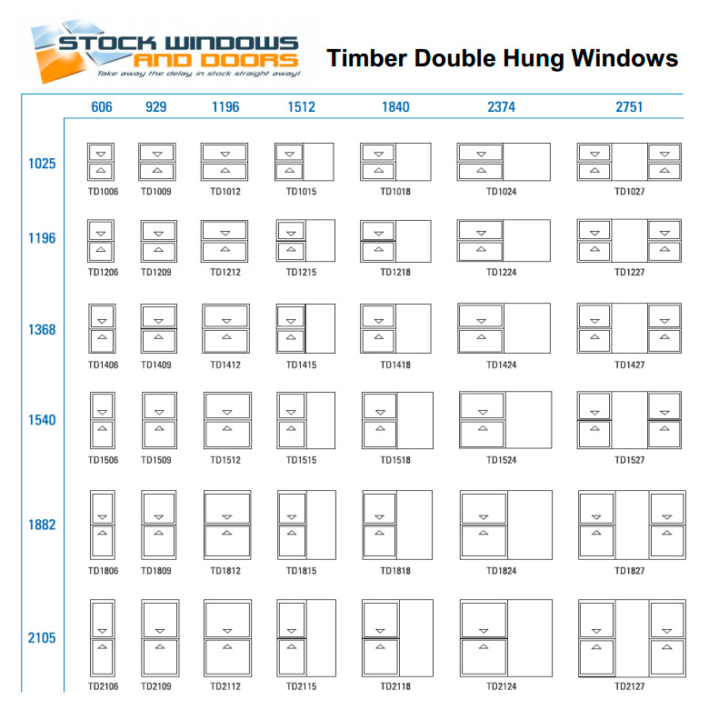 double hung window size chart