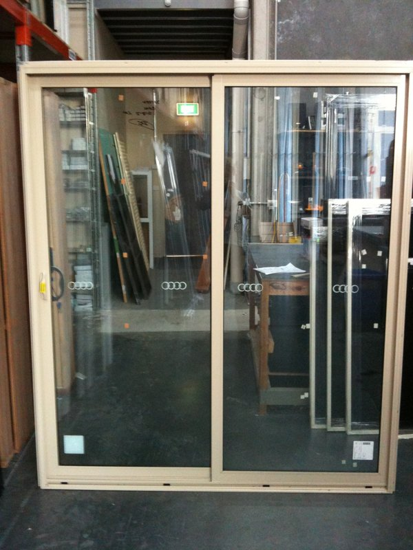 Aluminium sliding door 2100h x 1810w paperbark stock for French doors 1800 x 2100