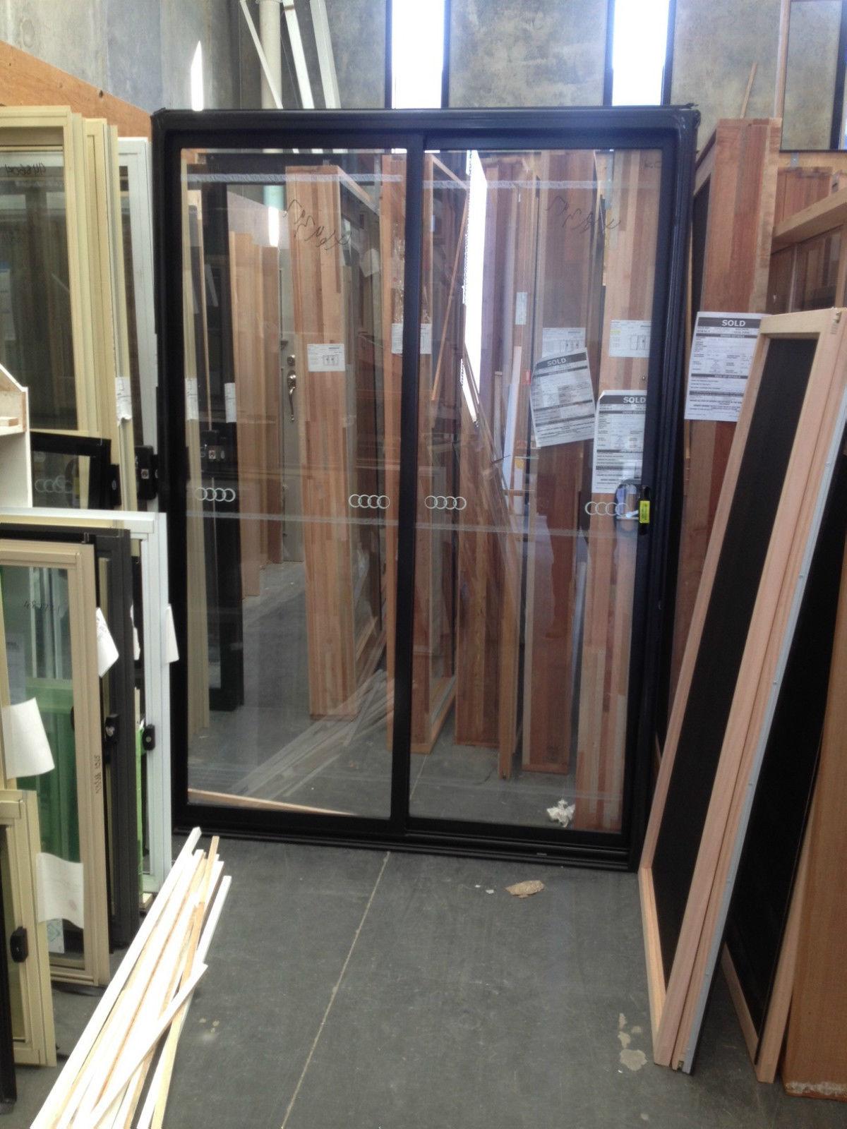 Aluminium Sliding Door 2100h X 1450w Black Stock Windows